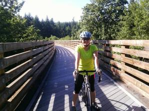 Riding across the Buxton Trestle, 80 feet high, more than 600 feet long. It's one of the highlights of the ride south toward Banks.