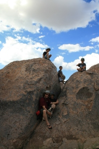 All the boys in the rocks.
